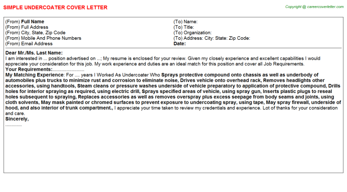 Undercoater Cover Letter Template