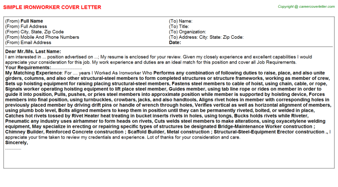 Ironworker Cover Letter Template