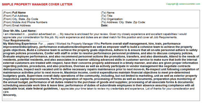 Property Manager Cover Letter Template