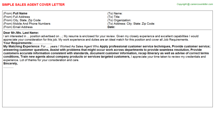 Sales Agent Cover Letter Template