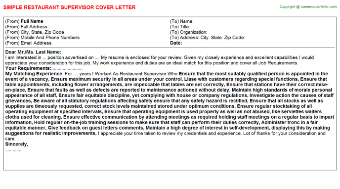 Restaurant Supervisor Cover Letter Template