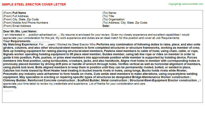 Steel Erector Job Cover Letters Examples