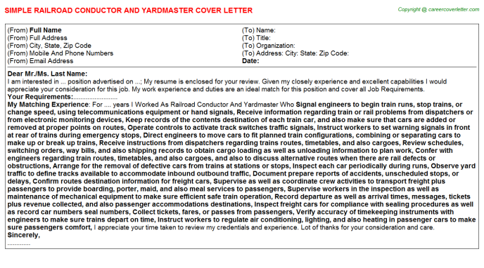 railroad conductor and yardmaster job cover letter example