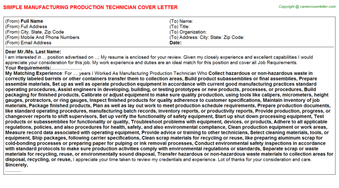 Manufacturing Production Technician Job Cover Letter