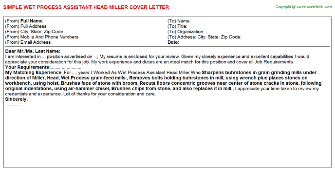 Wet Process Assistant Head Miller Cover Letter Template