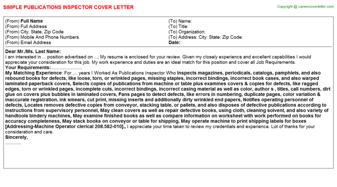 Publications Inspector Cover Letter Template