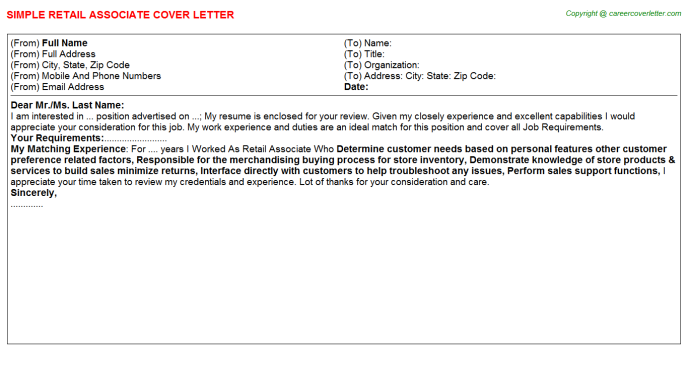 Retail Associate Cover Letter Template