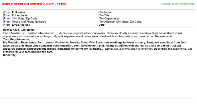 Seedling Sorter Job Cover Letter Template