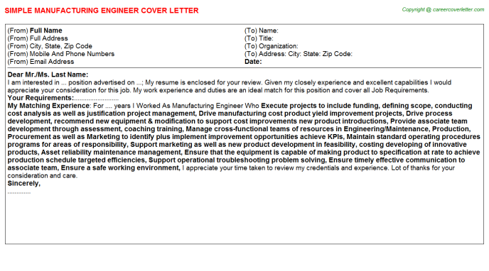 Manufacturing Engineer Cover Letter Template