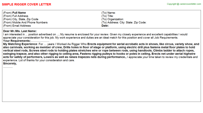 Rigger Cover Letter Template