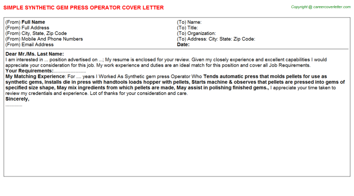 Synthetic Gem Press Operator Job Cover Letter Template