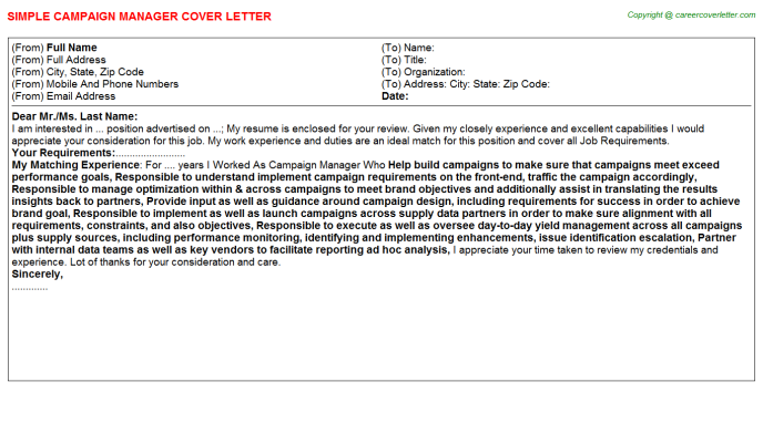 Campaign Manager Cover Letter Template