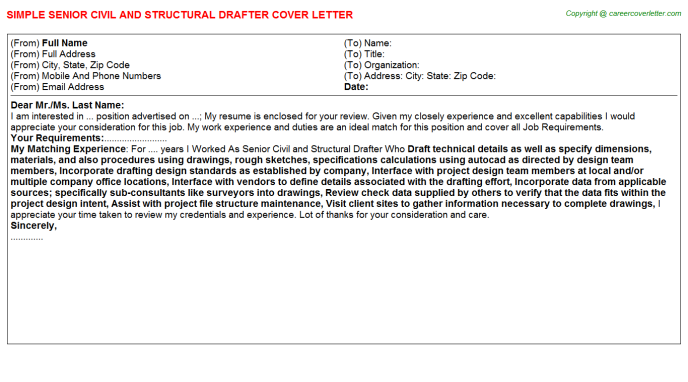 Senior Civil And Structural Drafter Cover Letter Template