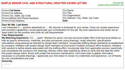 Senior Civil And Structural Drafter Job Cover Letter