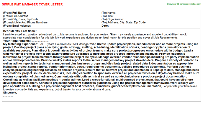Pmo Manager Cover Letter Template