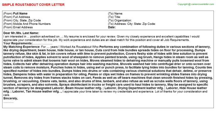 Roustabout Job Cover Letter Template