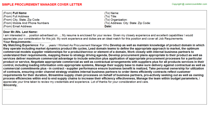 Procurement Manager Cover Letter Template