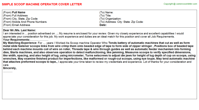 Scoop machine Operator Job Cover Letter Template