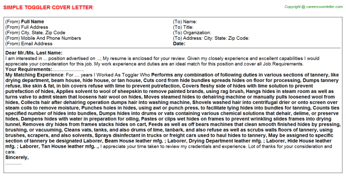 Toggler Job Cover Letter Template