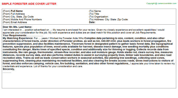 forester aide cover letter template