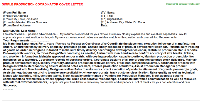 Production Coordinator Cover Letter Template