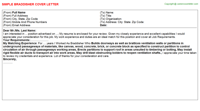Braddisher Cover Letter Template