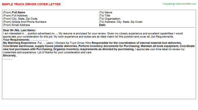 Truck Driver Cover Letter Template