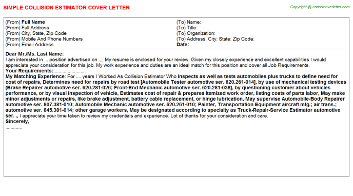 Construction estimate cover letter write a musical review