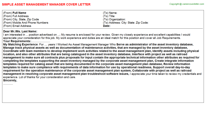 Asset Management Manager Cover Letters