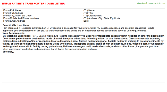 patients transporter cover letter template