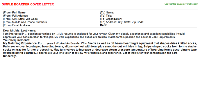 Boarder Job Cover Letter Template