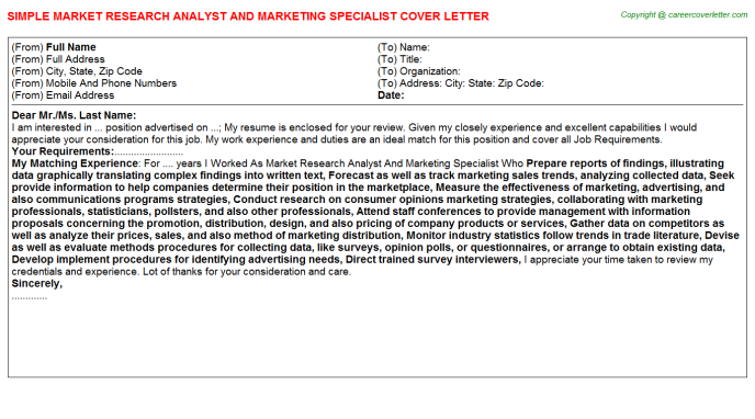 Market Research Analyst And Marketing Specialist Job Cover ...