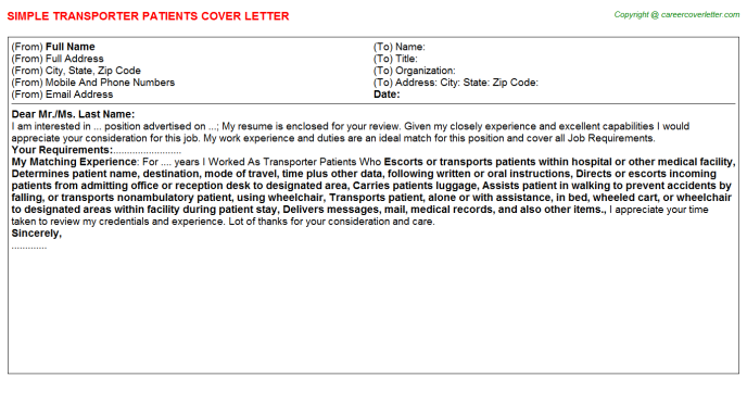 transporter patients cover letter template