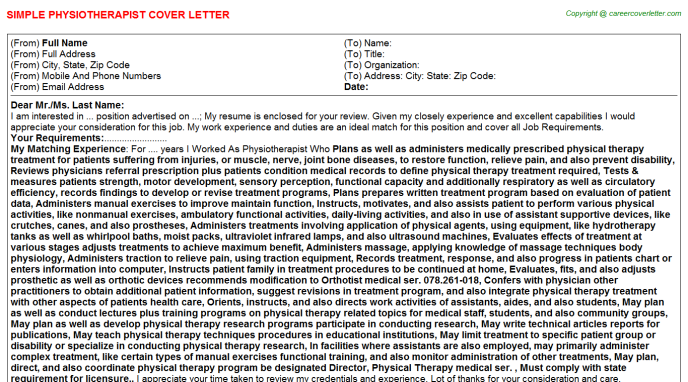 Physiotherapist Job Cover Letter Template