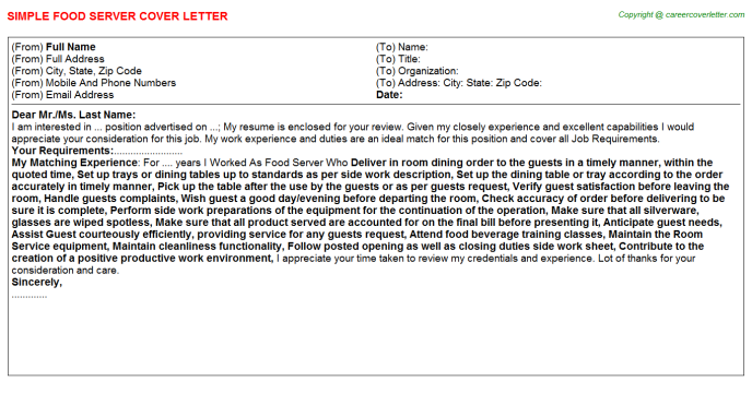 Food Server Cover Letter Template