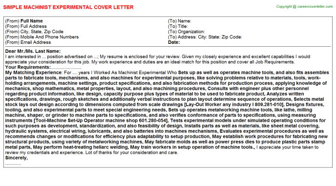 machinist experimental cover letter template