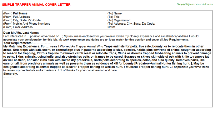 trapper animal cover letter template
