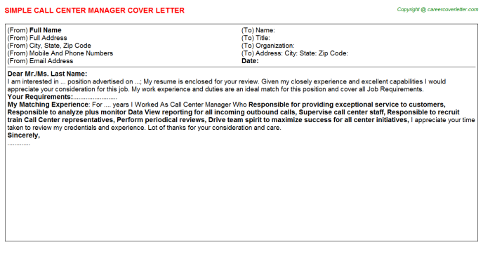 Call Center Manager Cover Letter Template