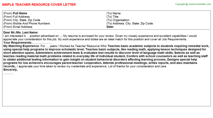 Teacher Resource Job Cover Letter Template