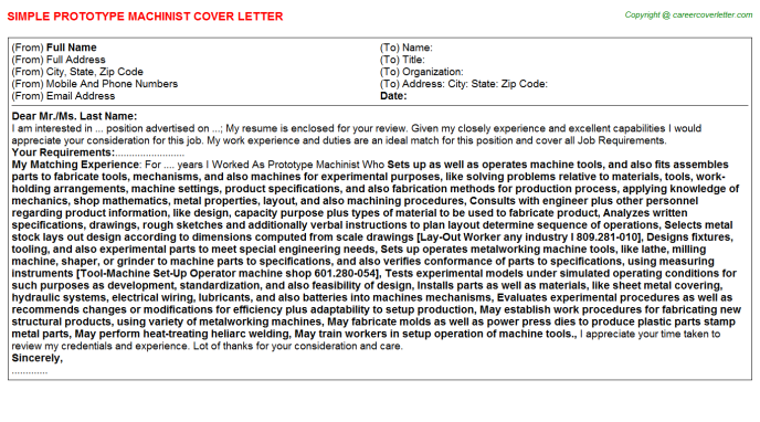 prototype machinist cover letter template