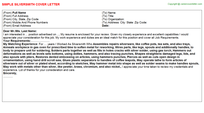 Silversmith Job Cover Letter Template