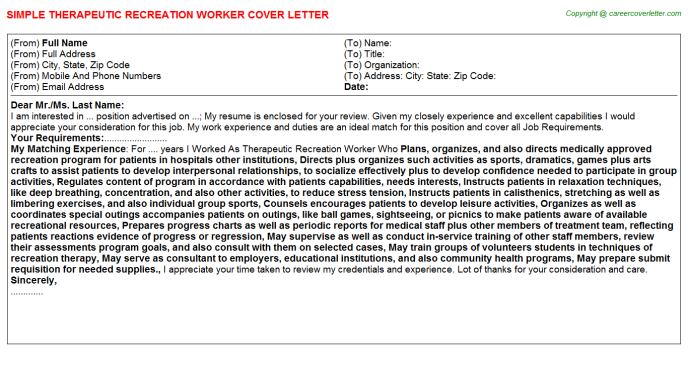 Therapeutic Recreation Worker Cover Letter Template