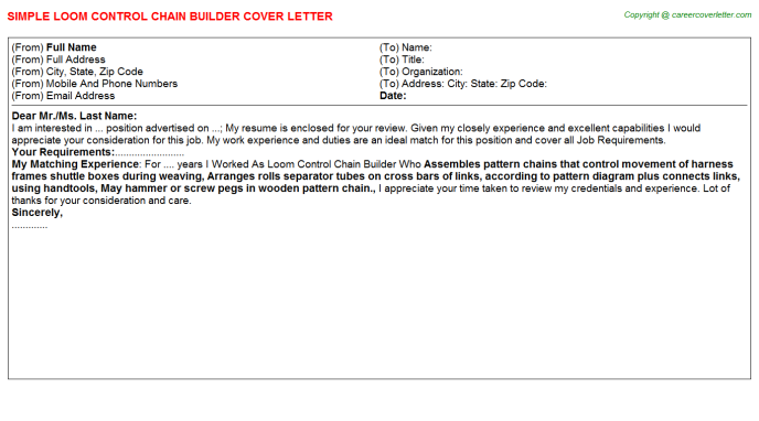 Loom Control Chain Builder Job Cover Letter Template