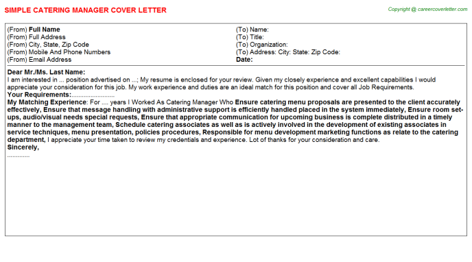 Catering Manager Cover Letter Template