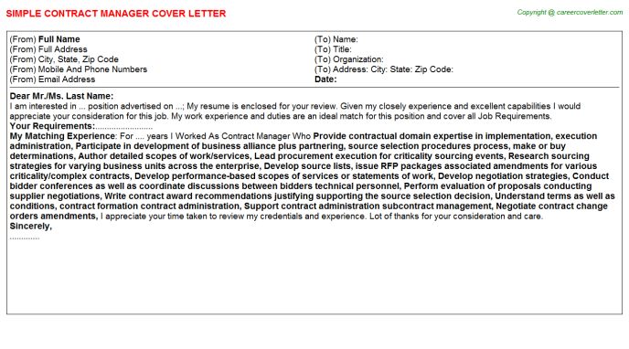 Contract Manager Cover Letter Template