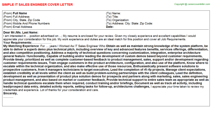 IT Sales Engineer Cover Letter