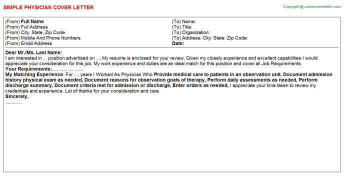 Physician Job Cover Letter Template