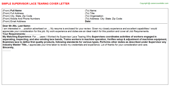 Supervisor Lace Tearing Cover Letter Template