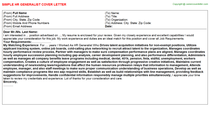 HR Generalist Job Cover Letter