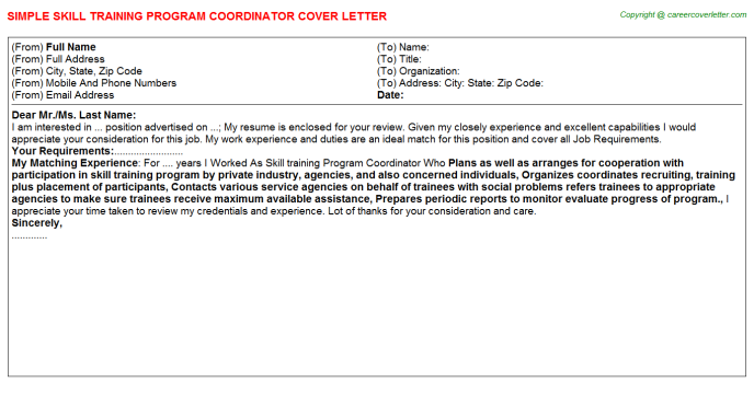 Distance learning coordinator cover letter